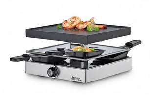 Spring Raclette 4 Classic Inox mit Alugrillplatte